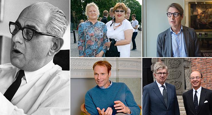 Från vänster, Alber Bonnier Jr, Charlotte och Jeanette Bonnier, Jonas Bonnier Bengt Braun (tidigare vd Bonnier AB), Carl Johan Bonnier och Albert Bonnier